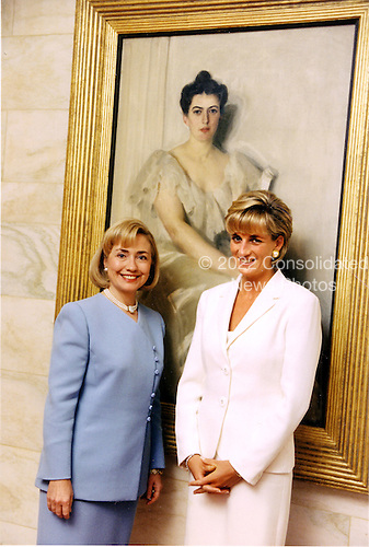 Washington, DC - June 18, 1997 - In this photo provided by the White House, First lady Hillary Rodham Clinton and Diana, Princess of Wales, pose for a photo at the White House.  The princess and the first lady had a private, 30 minute chat..Mandatory Credit: Sharon Farmer - White House via CNP