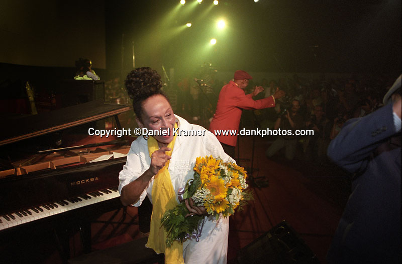 Omara Portuondo performs live on stage with the Buena Vista Social Club musical collective in Havana after the 1999 Cuban premiere of the Buena Vista Social Club film by German directer Wim Wenders.