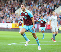 Burnley's Chris Wood celebrates scoring his side's first goal <br /> <br /> Photographer Alex Dodd/CameraSport<br /> <br /> UEFA Europa League - Europa League Qualifying Round 2 2nd Leg - Burnley v Aberdeen - Thursday 2nd August 2018 - Turf Moor - Burnley<br />  <br /> World Copyright © 2018 CameraSport. All rights reserved. 43 Linden Ave. Countesthorpe. Leicester. England. LE8 5PG - Tel: +44 (0) 116 277 4147 - admin@camerasport.com - www.camerasport.com