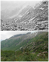 KLGO Photo Station CH-09: Long Hill, View southwest down valley with Hoffman Glacier in the background from Long Hill, Klondike Gold Rush National Historical Park, Alaska, United States. Upper photo taken 1898 by Eric A. Hegg (University of Washington Libraries, Special Collections, Hegg335). Lower photo taken August 20, 2013 by Ronald D. Karpilo Jr.