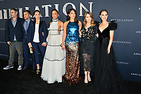 Alex Garland, Oscar Isaac, Tuva Novotny, Tessa Thompson, Gina Rodriguez, Jennifer Jason Leigh &amp; Natalie Portman at the premiere for &quot;Annihilation&quot; at the Regency Village Theatre, Los Angeles, USA 13 Feb. 2018<br /> Picture: Paul Smith/Featureflash/SilverHub 0208 004 5359 sales@silverhubmedia.com