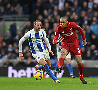 Liverpool's Fabinho (right) under pressure from Brighton & Hove Albion's Glenn Murray (left) <br /> <br /> Photographer David Horton/CameraSport<br /> <br /> The Premier League - Brighton and Hove Albion v Liverpool - Saturday 12th January 2019 - The Amex Stadium - Brighton<br /> <br /> World Copyright © 2018 CameraSport. All rights reserved. 43 Linden Ave. Countesthorpe. Leicester. England. LE8 5PG - Tel: +44 (0) 116 277 4147 - admin@camerasport.com - www.camerasport.com
