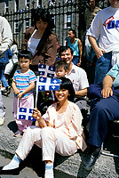 File Photo, Montreal (Qc) Canada <br /> <br /> Quebecers of all ethnic origins take part in the Saint Jean-Baptiste (Quebec National Holiday) Parade