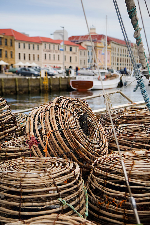 Lobster pots on a fishing boat in Victoria Dock.  Sullivans Cove, Hobart, Tasmania, Australia