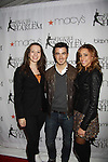 Figure Skater Sarah Hughes poses with singer Kevin Jonas & wife Dani at the 2012 Skating with the Stars - a benefit gala for Figure Skating in Harlem celebrating 15 years on April 2, 2012 at Central Park's Wollman Rink, New York City, New York.  (Photo by Sue Coflin/Max Photos)
