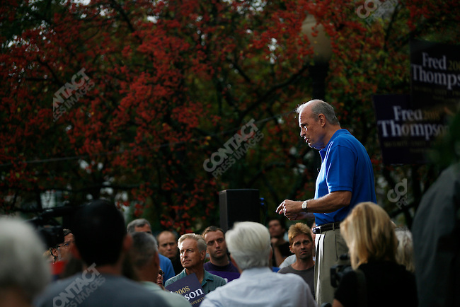 Former Senator Fred Thompson (R - TN), 2008 Republican candidate for President, speaks to a crowd about his plans for his Presidency, in front of the Nashua town hall. Nashua, New Hampshire, September 9, 2007.