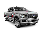 Gray 2018 Ford F-150 Lariat pickup truck isolated on white background with clipping path Image © MaximImages, License at https://www.maximimages.com
