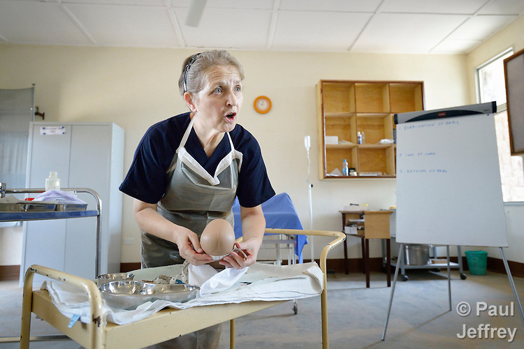 Sister Maria Teresa Ronchi teaches a class at the Catholic Health Training Institute (CHTI) in Wau, South Sudan. Run by Solidarity with South Sudan, an international network of Catholic organizations supporting the development of the world's newest country, the CHTI trains nurses and midwives from throughout the country. Sister Ronchi, a Comboni missionary from Italy, is a lecturer at the institute.