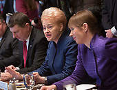President Dalia Grybauskaite of Lithuania(c) participates in a meeting with President Kersti Kaljulaid of Estonia(r), President Raimonds Vejonis of Latvia(l) and United States President Donald Trump at The White House in Washington, DC, April 3, 2018. <br /> Credit: Chris Kleponis / Pool via CNP