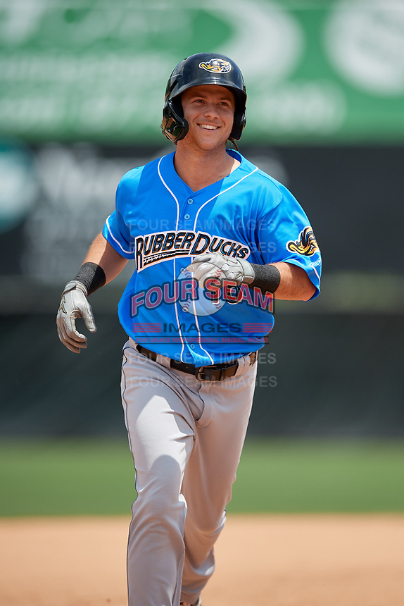 Akron RubberDucks Connor Marabell (16) rounds the bases after hitting a home run during an Eastern League game against the Bowie Baysox on May 30, 2019 at Prince George's Stadium in Bowie, Maryland.  Akron defeated Bowie 9-5.  (Mike Janes/Four Seam Images)