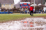 ANSONIA, CT. 02 December 2018-120218 - A pond of water and mud was difficult footing on the Ansonia side of the field during the Class S Semi-final game between Bloomfield and Ansonia at Ansonia High School in Ansonia on Sunday. Bloomfield held on to beat Ansonia 26-19 and advances to the Class S Championship game next week. Bill Shettle Republican-American