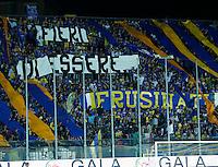 La curva dei  tifosi del Frosinone  durante l'incontro di calcio di Serie A   Frosinone - Torino  allo  Stadio Matusa di   di Frosinone ,23 Agosto 2015