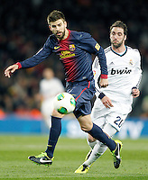 FC Barcelona's Gerard Pique (l) and Real Madrid's Gonzalo Higuain during Copa del Rey - King's Cup semifinal second match.February 26,2013. (ALTERPHOTOS/Acero) /Nortephoto