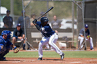 San Diego Padres second baseman Esteury Ruiz (3) at bat during an Instructional League game against the Texas Rangers on September 20, 2017 at Peoria Sports Complex in Peoria, Arizona. (Zachary Lucy/Four Seam Images)