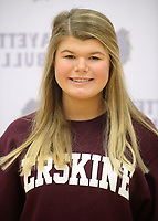 NWA Democrat-Gazette/ANDY SHUPE<br /> Grace Coleman signed Wednesday, Feb. 6, 2019, to play tennis for Erskine College during a signing ceremony at Fayetteville High School.