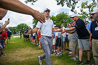 Jordan Spieth (USA) high fives fans on his way to the tee on 3 during round 3 of the 2019 Charles Schwab Challenge, Colonial Country Club, Ft. Worth, Texas,  USA. 5/25/2019.<br /> Picture: Golffile | Ken Murray<br /> <br /> All photo usage must carry mandatory copyright credit (© Golffile | Ken Murray)