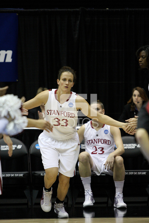 BERKELEY, CA - MARCH 30: Jillian Harmon in lineups before Stanford's 74-53 win against the Iowa State Cyclones on March 30, 2009 at Haas Pavilion in Berkeley, California.