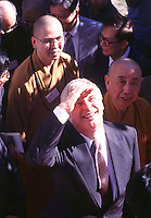 1405: CHRIS PATTEN : HONG KONG<br /> <br /> The last Governor of Hong Kong, Chris Patten greets the crowds during a visit to Kun Chung temple in Fanling in the North Terriory in the New territories. 14/05/97.