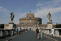 People walking in front of the Castel Sant´Angelo  in Rome,Italy