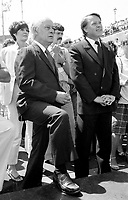 Montreal (QC) Canada- -July 7 1984  File Photo - Quebec Premier REne Levesque and Bernard Landry attend baptism of SOFATI-SOCONAV ship in Monreal OLd-Port.