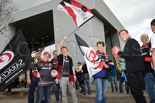 18.04.2015. Clermont-Ferrand, Auvergne, France. Champions Cup rugby semi-final between ASM Clermont and Saracens. Supporters of Saracens pre-game