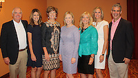 NWA Democrat-Gazette/CARIN SCHOPPMEYER Jay Allen, Walmarat NW Arkansas Championship tournament director (from left), Carmen Bauza, Sarah Semrow, Morgan Pressel, Michelle Gloeckler, Laura Phillips and Arist Mastorides gather at the NEW Women's Day at the LPGA breakfast June 23 at the John Q. Hammons Center in Rogers.