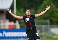 Abby Wambach (20) of the USWNT yells to a referee during the game at WakeMed Soccer Park in Cary, NC.   The USWNT defeated Japan, 2-0..