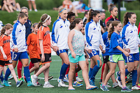 Boston, MA - Saturday July 01, 2017: Boston Breakers and Washington Spirit walk onto the field during pre-game ceremonies during a regular season National Women's Soccer League (NWSL) match between the Boston Breakers and the Washington Spirit at Jordan Field.