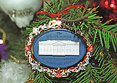 Washington, DC - December 4, 2000 -- The 2000 White House Christmas ornament hangs on the official White House Christmas tree in the Blue Room of the White House in Washington, D.C. on December 4, 2000..Credit: Ron Sachs - CNP