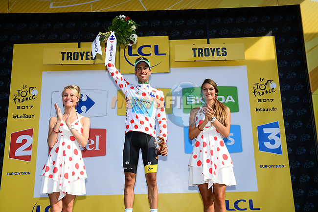 Fabio Aru (ITA) Astana retains the Polka Dot Jersey at the end of Stage 6 of the 104th edition of the Tour de France 2017, running 216km from Vesoul to Troyes, France. 6th July 2017.<br /> Picture: ASO/Alex Broadway | Cyclefile<br /> <br /> <br /> All photos usage must carry mandatory copyright credit (&copy; Cyclefile | ASO/Alex Broadway)
