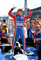 May 28, 2017; Indianapolis, IN, USA; IndyCar Series driver Takuma Sato celebrates after winning the 101st Running of the Indianapolis 500 at Indianapolis Motor Speedway. Mandatory Credit: Mark J. Rebilas-USA TODAY Sports