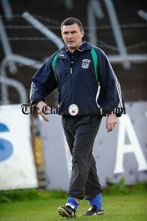 Brendan Reidy, manager of Wolfe Tones, looks on during their senior championship playoff against Ennistymon at Cusack Park. Photograph by John Kelly