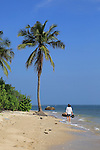 Woman walking on sandy tropical beach at Pasikudah Bay, Eastern Province, Sri Lanka, Asia