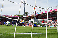 Ryan Fraser of AFC Bournemouth scores the first goalpost Kasper Schmeichel of Leicester Cityg during AFC Bournemouth vs Leicester City, Premier League Football at the Vitality Stadium on 15th September 2018