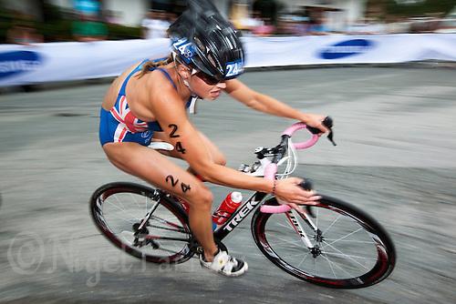 23 JUN 2012 - KITZBUEHEL, AUT - Vanessa Raw (GBR) of Great Britain on the bike during the elite women's 2012 World Triathlon Series round in Schwarzsee, Kitzbuehel, Austria .(PHOTO (C) 2012 NIGEL FARROW)