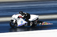Nov. 10, 2012; Pomona, CA, USA: NHRA pro stock motorcycle rider Steve Johnson during qualifying for the Auto Club Finals at at Auto Club Raceway at Pomona. Mandatory Credit: Mark J. Rebilas-