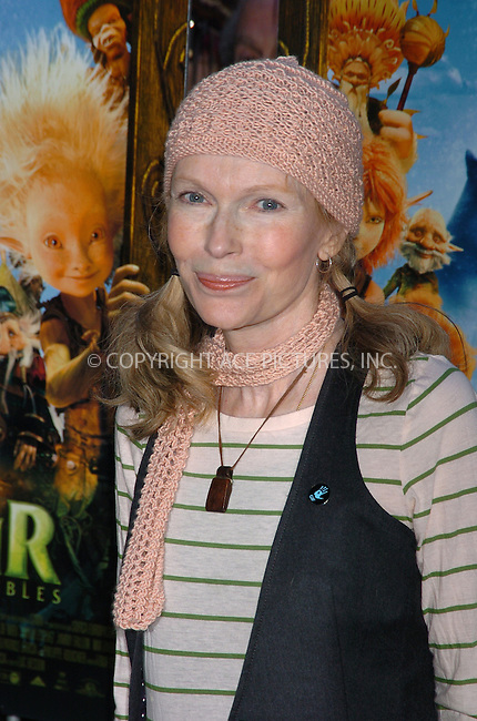 WWW.ACEPIXS.COM . . . . .  ....December 7, 2007, New York City....Mia Farrow attends the 'Arthur and the Invisibles' Premiere.....Please byline: AJ Sokalner - ACEPIXS.COM.... *** ***..Ace Pictures, Inc:  ..(212) 243-8787 or (646) 769 0430..e-mail: picturedesk@acepixs.com..web: http://www.acepixs.com