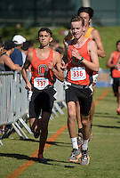Nov 14, 2015; Claremont, CA, USA; Austin Sankaran (337) and Keenan Leary (336) of Occidental run during the 2015 NCAA Division III West Regionals cross country championships at Pomona-Pitzer College. (Freelance photo by Kirby Lee)