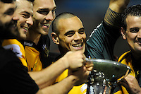 Kahn Fotuali'i of Northampton Saints celebrates winning the Amlin Challenge Cup Final after beating Bath Rugby 16-30 at Cardiff Arms Park on Friday 23rd May 2014 (Photo by Rob Munro)