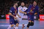 VELUX EHF 2017/18 EHF Men's Champions League Group Phase - Round 11.<br /> FC Barcelona Lassa vs HC Vardar: 29-28.<br /> Raul Entrerrios, Joan Ca&ntilde;ellas &amp; Kamil Syprzak.