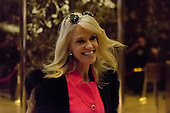 Trump campaign manager Kellyanne Conway exits an elevator in the lobby of Trump Tower in New York, NY, USA on December 3, 2016.<br /> Credit: Albin Lohr-Jones / Pool via CNP