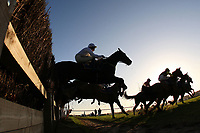 Riders and horses in jumping action during the New Year's Day Racing at Fakenham Handicap Chase