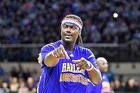 Slick in action during the Basketball - Harlem Globetrotters at TSB Bank Arena, Wellington, New Zealand on Sunday 7 June 2015.Photo by Masanori Udagawa. <br /> www.photowellington.photoshelter.com.