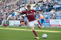 Joe Bunney of Northampton Town swings over a cross during Colchester United vs Northampton Town, Sky Bet EFL League 2 Football at the JobServe Community Stadium on 24th August 2019
