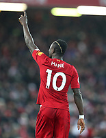 24th February 2020; Anfield, Liverpool, Merseyside, England; English Premier League Football, Liverpool versus West Ham United; Sadio Mane of Liverpool celebrates after scoring the match winning goal after 81 minutes