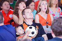 San Francisco, CA - Sunday, June 29, 2014: Dutch and Mexico fans gathered at the SOMA StrEat Food Park to watch their round of 16 World Cup match.