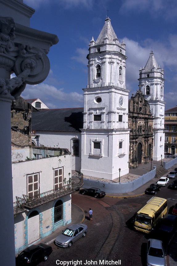 The cathedral on Plaza de la Independencia in Casco Viejo, the oldest neighbourhood in Panama City, Panama