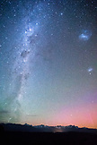 NEW ZEALAND, Okarito, Southern Lights and the Milky Way over the Southern Alps from the Okartio Trig, Ben M Thomas