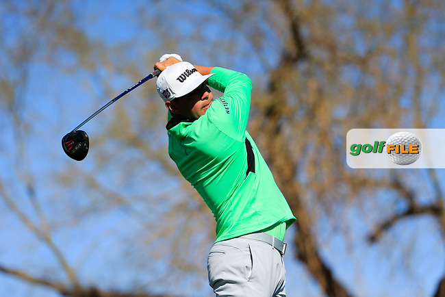Gary Woodland (USA) on the 6th tee during the 2nd round of the Waste Management Phoenix Open, TPC Scottsdale, Scottsdale, Arisona, USA. 01/02/2019.<br /> Picture Fran Caffrey / Golffile.ie<br /> <br /> All photo usage must carry mandatory copyright credit (&copy; Golffile | Fran Caffrey)