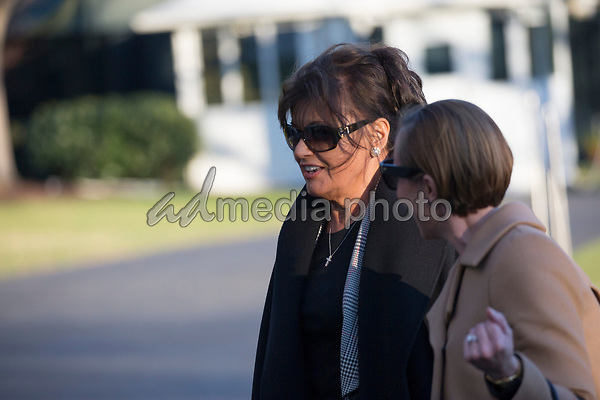 Amalija Knavs, mother of first lady Melania Trump walks to the White House following U.S. President Donald J. Trump after his visit to Mar-a-Lago, Florida<br /> Credit: Chris Kleponis / Pool via CNP